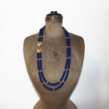KJL for Avon Blue Bead Rams Head Necklace - Kenneth J Lane Blue Bead Multi Strand Necklace - Long Blue Bead and Gold Necklace