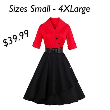 50's Inspired V-Neck Swing Cocktail Dress, Sizes Small - 4XLarge