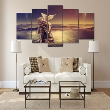 Angel Peace Dove 5 Pcs piece panel canvas wall art picture print poster religion