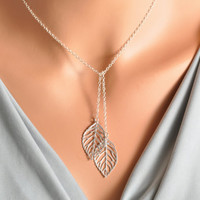 Leaf Lariat - double leaf lariat, silver leaf necklace, two leaves necklace, bow tie necklace