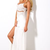 White Lace Spaghetti Strap Long Dress