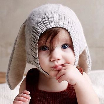 2016 New Winter Baby Girls Boy Knitted Hats Soft Crochet Baby Bunny Hats Protector Cap Children Pullover Baby Kids Knitted Hat