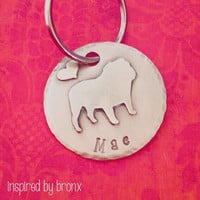 Pet Name tag, pet silhouette, dog tag, pet ID tag, ID tag, hand stamped name tag, English Bulldog