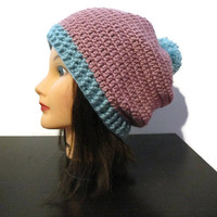 Pink and seafoam pom pom slouchy crochet hat