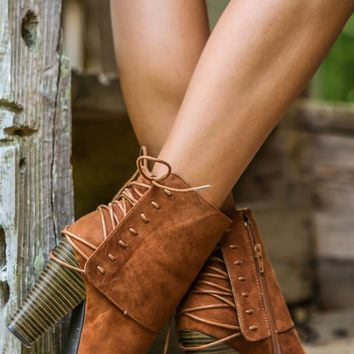 Look Back At It Booties-Cognac - New Today
