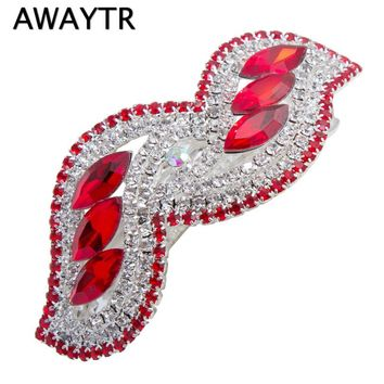 AWAYTR Hairpins for Hair Women New Fashion Colorful Beads Crystal Hairpin Hair Clip 2017 Brand New Black Red Hairwear for Girls
