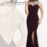 Milano Formals Beaded High Neckline Dress E1848
