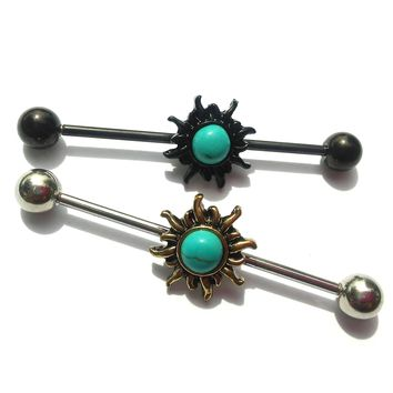 14 gauge Stainless steel Bohemian Tribal sun Scaffold/Industrial Piercing Barbell