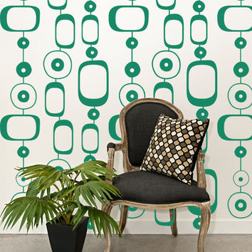Wall Decal Geometric Retro Mod Chain Circles Modern Mural Shapes Pattern Abstract Ovals