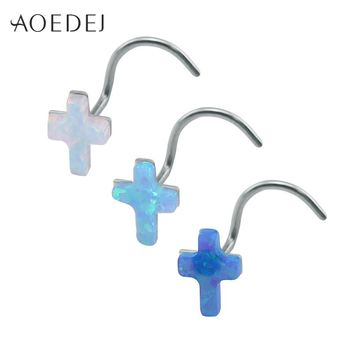 AOEDEJ 3 Colors Cross Nose Rings For Women Stainless Steel White Fire Opal Stone Nose Stud 20g Nose Piercing Ring L Shape