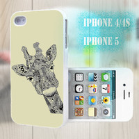 unique iphone case, i phone 4 4s 5 case,cool cute iphone4 iphone4s 5 case,stylish plastic rubber cases cover, yellow Hand-drawn giraffe p990