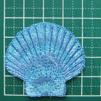 2 pcs Iron-On embroidered Patch Sea Shell 1.6 inch