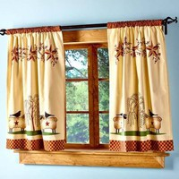 Primitive Willow Window Tier Curtain Set Country Rustic Kitchen Home Decor