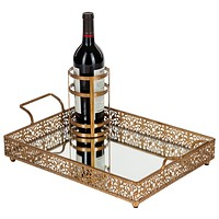 Vintage Rectangular Mirror-Top Serving Tray with Bottle Holder (Gold)