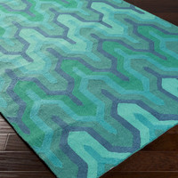 Brentwood Area Rug | Blue Geometric Rugs Hand Hooked | Style BNT7700