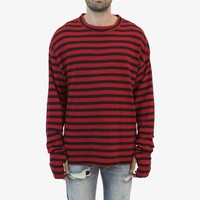 Stripe Bol L/S Tee - Black/Red