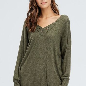 Criss Cross Cozy Sweater Olive