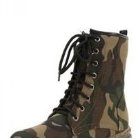 Nature Breeze Gwen-01hi Black Green Camouflage Lace Up Military Boots and Shop Boots at MakeMeChic.com