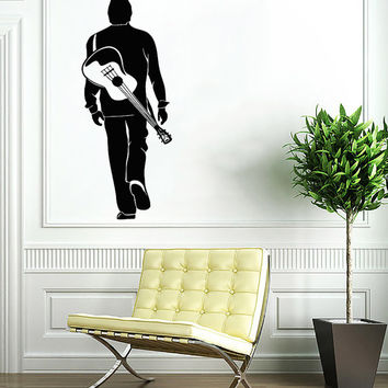 Man with Guitar Decal - Musician Wall Decals Home Decor Vinyl Art Wall Decor Bedroom Music Studio Sound Recording Studio Decor SV5493