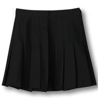 Black High Waist Pleated Mini Skirt