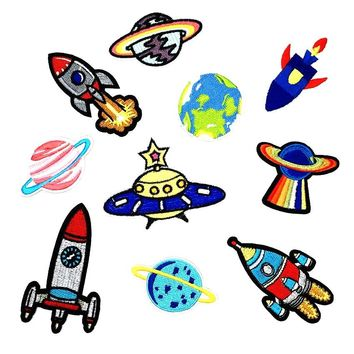UFO Alien Space Themed Iron On Patches Choose Style 1pc
