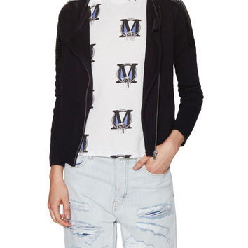 Contrast Knit Motorcycle Cardigan