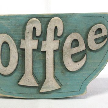 COFFEE Retro / Shabby-Chic Wooden Sign