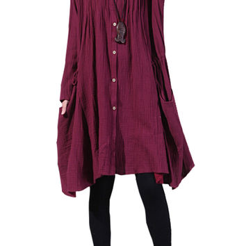 Burgundy Long Sleeve Button Down Midi Dress