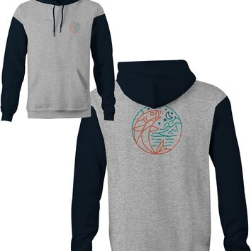 Moon Fish Hoodie Grey Heather/Slate Blue