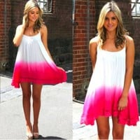 Sleeveless Pink Dipped Ombre Dress with Crochet Trim