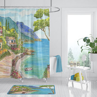 Seaside Town Shower Curtain - Mediterranean Scene - Fabric - village flowers, mountains, ocean, bathroom makeover