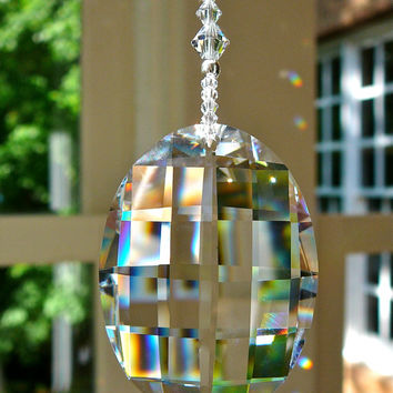 "Gabriella  - 10"" Swarovski Crystal Beaded Suncatcher with 50mm Oval Swarovski Crystal Matrix"