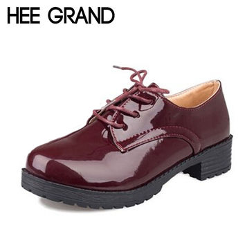 HEE GRAND Women Platform Flats 2016 Autumn High Quality Oxfords Solid Plain PU Leather Creepers Casual Oxford Shoes Woman XWD848