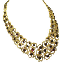 Vintage 1960's Bib Necklace Faux Ruby Garnet Numbered