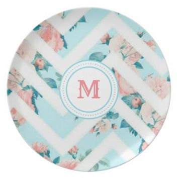 Blue Floral Monogram Chevron Pattern Plate