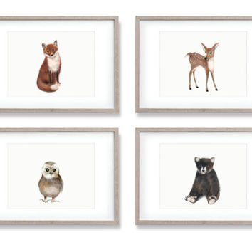 Woodland Nursery Art, Set of 4 Prints, Animal Paintings, Fox, Bear, Deer, Owl, Animal Wall Art, Childrens Wall Decor, Kids Art Print, Forest