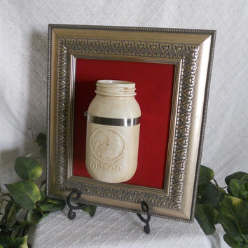 Framed mason jar, Hanging mason jar, Wall mounted mason jar, Mason jar vase, Hanging planter, Hanging vase, Wall vase, Wall candle holder