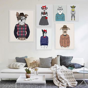 Modern Fashion Animal Rock Dog A4 Large Art Print Poster Hippie Wall Picture Canvas Painting No Frame Boy Girl Room Home Decor