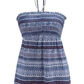 Halter Boho Tribal Striped Print Halter Peplum Cute Summer Girl Top Women 2016 Casual Beach Vest Blue Fashion Lady New Arrival