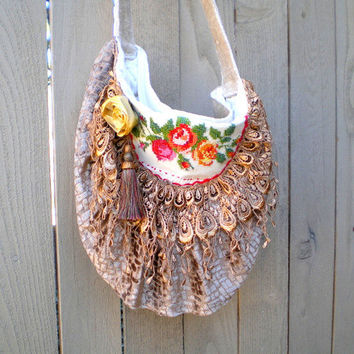 Fabric handbag, purse, vintage embroidery, tapestry, gypsy, crossbody, boho, shabby chic, lace, fringe