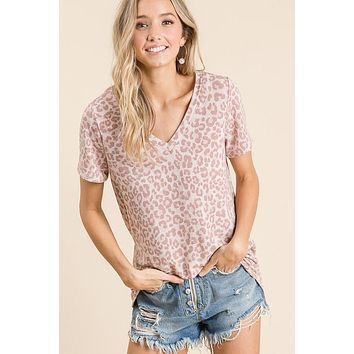 Mauve V Neck Leopard Print Top
