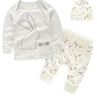 3Pcs Infant Baby Boy Girl Clothing Set Cute Cartoon Rabbit Elk Printed Kids Clothes Spring Summer Shirt+Pants+Hat Casual Clothes