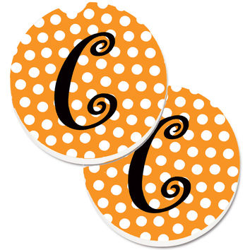 Monogram Initial C Orange Polkadots  Set of 2 Cup Holder Car Coasters CJ1033-CCARC