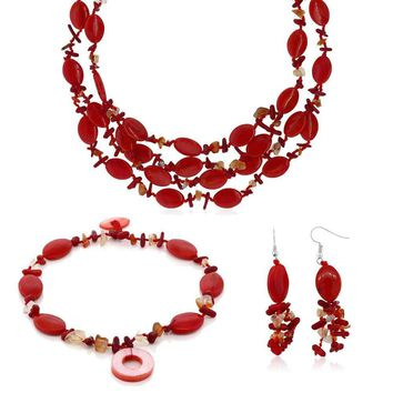 19 Inch  Red Simulated Coral and Stone Chips Necklace Bracelet and Earrings Set