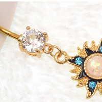Gold Sun White Opal Dangle Navel Belly Rings Sexy Body Jewelry Women Girls Belly Button Rings Blue CZ Summer Bijoux -0411