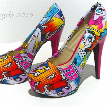 My Little Pony-Womens Pink heels-Rainbow Dash-Pinkie Pie-Party Pumps-custom shoes-geek wedding-cosplay-comic con-bronies-decoupage