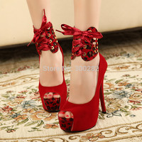Summer Open-Toe Platform Suede Leopard Grain Pumps Sexy Thin Heels Nightclub Buckle Sandals Woman Wedding Shoes