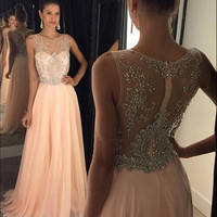 A-line Illusion Neck Long Prom Dress,Chiffon Skirt 2016 Formal Gown DPA1044