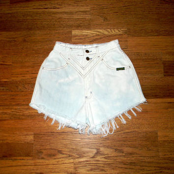 Vintage Denim Cut Offs - Vintage 80s Upcycled/Custom Bleached/Distressed LIGHT WHITE Blue Jean Shorts - Cut Off/Frayed ROCKIES Shorts - 1/2