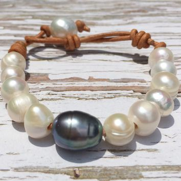 Pearl and Leather Bracelet | Peacock and White Pearl Bracelet | Third Anniversary Gift for Wife - Tahitian Style